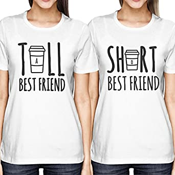 7e3140dff97c24 365 Printing Cute Best Friend Tall and Short Matching T-Shirt BFF Shirts  for Coffee Lovers  Amazon.co.uk  Clothing