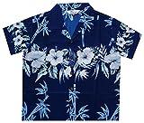 Alvish Hawaiian Shirts 35B Boys Bamboo Beach Aloha Party Camp Blue L