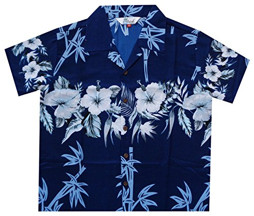 Alvish Hawaiian Shirts 35B Boys Bamboo Beach Aloha Party Camp Blue S