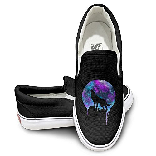 SH-rong Wolf Galaxy Dusk Wolf Unisex Canvas Sneakers Shoes Size 36 Black