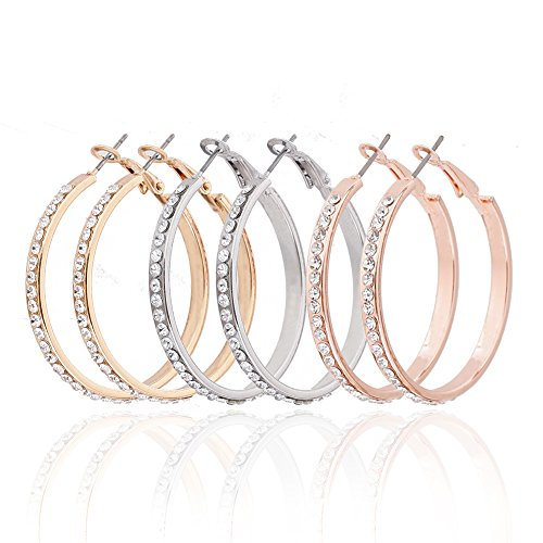 ALEXY 3 Pairs Hoop Earrings, Stainless Steel Sleek Rounded Earrings Set with Cubic Zirconia Inlaid for Women Girls (3 Pairs A)