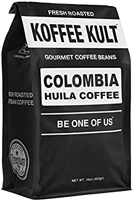 Koffee Kult Coffee Beans Colombia Huila - Highest Quality Delicious Organically Sourced Fair Trade - Whole Bean Coffee - Fresh Gourmet Aromatic Artisan Roasted from Koffee Kult Corp