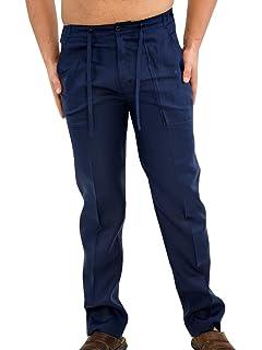 ce0bc3bdbd Runcati Mens Linen Pants Beach Casual Summer Elastic Waist Drawstring Loose  Fit Trousers with Pockets