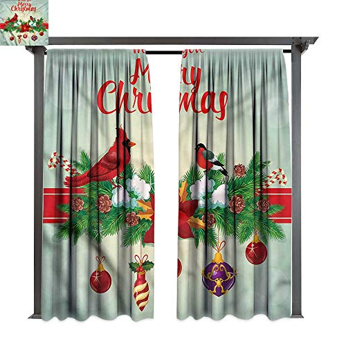 cobeDecor Outdoor Curtain Cardinal Hanging Baubles Garland for Lawn & Garden, Water & Wind Proof W120 xL96
