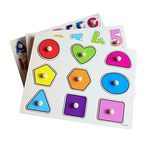 (Habudda Wooden Pegged Puzzles For Toddlers Chunky Puzzles With Knobs Baby Letter,Alphabet, Number, Shape, Color Recognition (3 PACK))