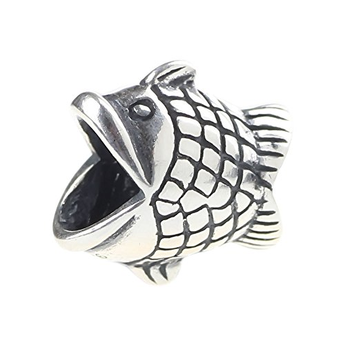 Beads Hunter Jewelry Happy Fish .925 Sterling Silver Charm Fits All European Bracelets