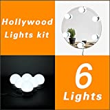 Waneway Hollywood Vanity Lights for Lighted Makeup Mirror Dressing Table DIY LED Lighting Strip Stick on Plug in with Dimmer and Power Supply, 6 Light / 9 FT, Mirror Not Included