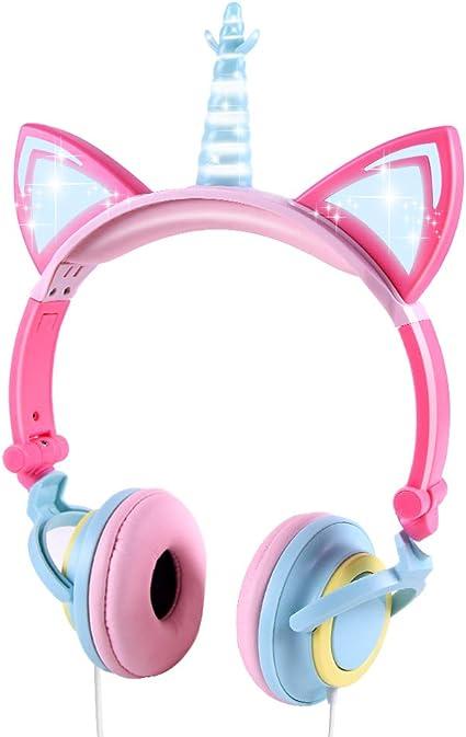 Auriculares para niños, Auriculares Unicornio con Cable para niños, Oreja de Gato LED con Diadema Ajustable
