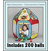"""A Childs Entertainment Center. Pop-Up Fun-Tent, 200 FunSoftBalls and a 36"""" X 36"""" Memory Foam Mat, The Next Generation Phthalate Free pit balls packed are in a zipper tote bags for easy storage. Each ball measures 2.4"""" (a little smaller and softer than the commercial pit balls,"""