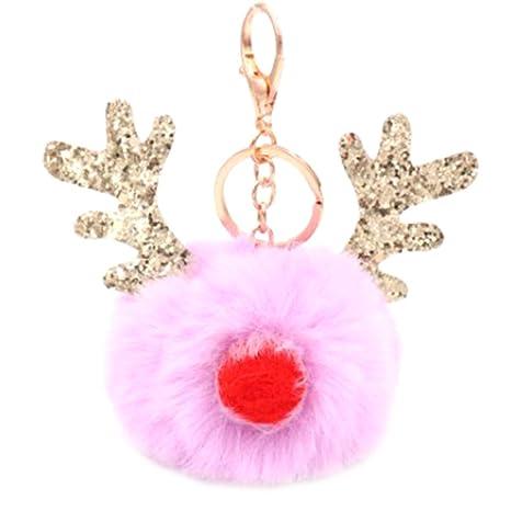 Cupcinu Llavero pompón de astas de Navidad Llavero de ...