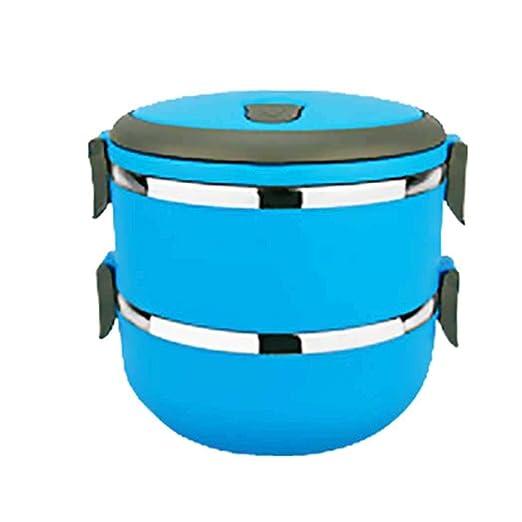 Eroihe Lunch Box Acero Inoxidable Lonchera Térmica Caja de Almacenamiento de Alimentos Portátil (2 Capas)