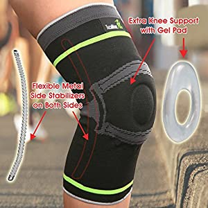 Tech Ware Pro Knee Brace Sleeve - More Than Knee Compression. Side Stabilizers & Patella Gel Pads for Knee Support. Arthritis, Meniscus Tear, Joint Pain Relief & Sports Injury Recovery.1 Piece.