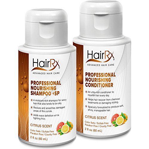 HairRx Professional Nourishing Shampoo +SP (for Oily Scalps) & Conditioner Travel Set, Luxurious Lather, Citrus Scent, 2 Ounce Bottles