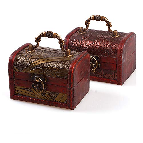 Wall of Dragon Pearl Earring Necklace Bracelet Storage Box Organizer Casket Vintage Red Women Jewelry Small Wood Case Display Stand ()