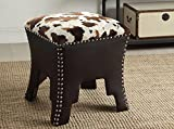 Wholesale Interiors Sally Cow-Print Patterned Fabric Faux Leather Upholstered Accent Stool with Nailheads, Brown