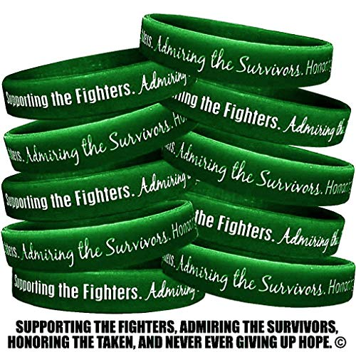 Fight Like a Girl Supporting, Admiring, Honoring Wristband Bracelet for Liver Cancer and Liver Disease - Emerald Green (10 Pack)