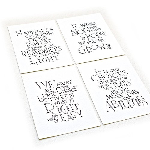 Harry Potter Quotes - Set of Four - Harry Potter Albus Dumbledore Quotes, Inspirational Art Print on 8.5