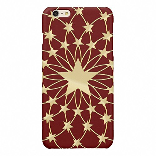 Phone 6S Plus Case,SlimProtective Case Fit for Apple iPhone 6 Plus/6S Plus5.5 inch-Matrix of golden stars expanding circles glossy (Kate Spade Summer Circle)