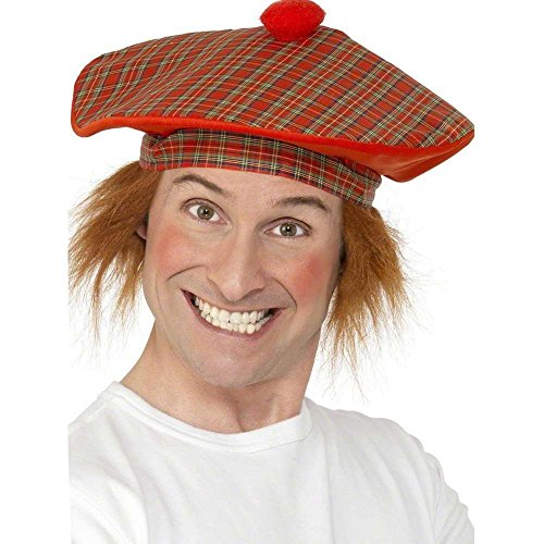 Smiffys Adult Men's Tartan Scottish Hat with Red Hair,Red,  One Size,Tam-O-Shanter, 5020570990537 ()