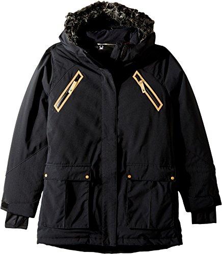Spyder Kids Girl's Bella Faux Fur Jacket (Big Kids) Black 16 by Spyder