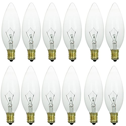 Sunlite 60CTC/32/E14/12PK 60W Incandescent Torpedo Tip Chandelier with Crystal Clear Light Bulb and European E14 Base (12 Pack)
