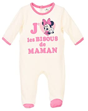2c22b4b8aa3a4 Pyjama bébé fille Minnie  J aime les bisous de Maman  Beige rose de ...