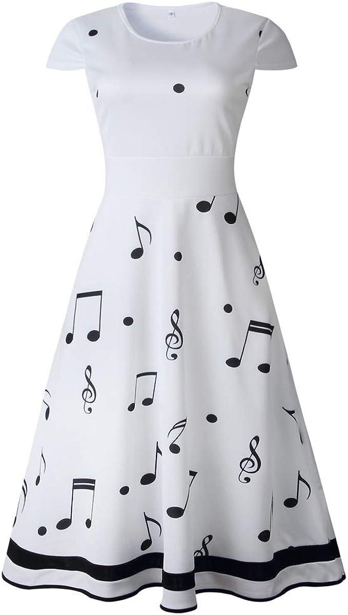 Women Summer Dress,Women Musical Note Print Sleeveless O Neck Evening Party Prom Swing Dresses 2019