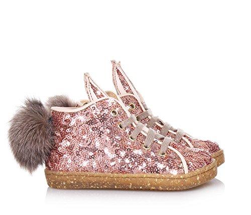 main OCRA en italiens rose paillettes réalisée Sneaker la à lacets Fille Filles par artisans à des UqBwrUzp
