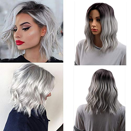 ZM Short Bob Wig Grey Synthetic Wig Curly Hair Wave Wigs for Women Heat Resistant Fiber ()