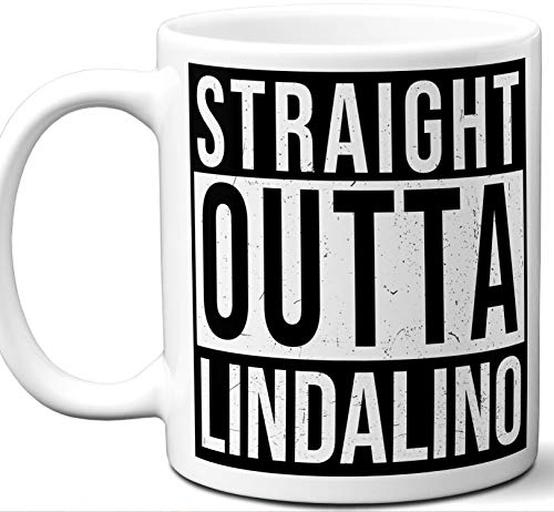 Gift Mug For Gulliver's Travels Fan. Straight Outta Lindalino. Funny Him Her Coffee Tea Women Men Birthday Christmas Fathers Day Mothers Day.