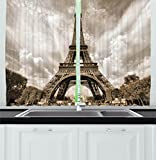 Images of Kitchen Window Curtains Ambesonne Kitchen Decor Collection, Eiffel Tower Image Paris Landmark Monument Sky Monochrome Image Print Backdrop, Window Treatments for Kitchen Curtains 2 Panels, 55X39 Inches, Black Grey White