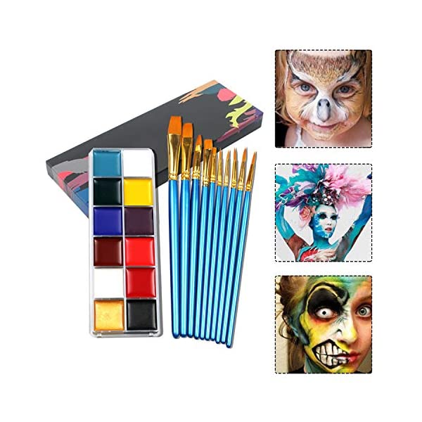 Face-Painting-Kits-for-KidsFace-Paint-with-Watercolor-BrushesBody-Paints-for-AdultsProfessional-Hypoallergenic-Non-Toxic-Washable-Glitter-Halloween-Party-Makeup-Tools12-Colors-with-10-Brushes