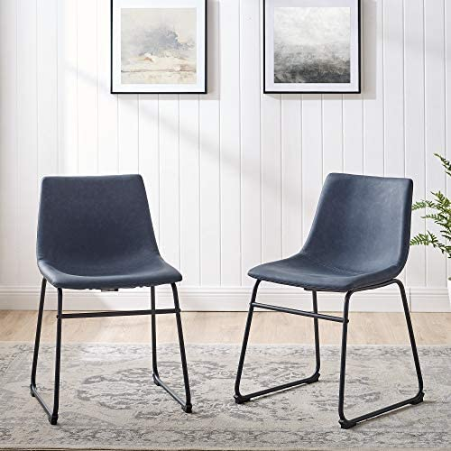 Walker Edison Furniture AZHL18BU Modern Faux Leather Upholstered Dining Chair