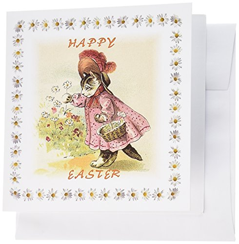 3dRose Here Comes Vintage Easter Bunny 6 x 6 Inches Greeting Cards, Set of 12 (gc_100618_2)