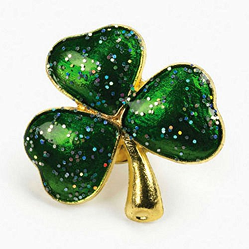 12 Shamrock Shape Glitter Pins Brooches IRISH Green St Patrick's Day Party Favor