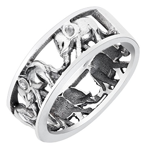 - CloseoutWarehouse Sterling Silver Elephant Family Migration Ring Oxidized Size 11