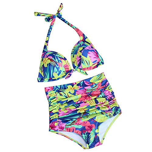 ZAMME Mujeres 50s estilo floral de alta Waisted bikini traje de baño para mujer Tankini Swimwear Floral B