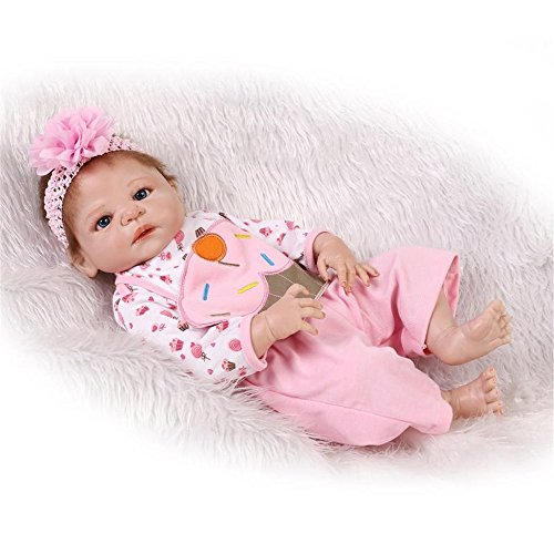 [Full Body Soft Silicone Baby Doll Pink Headdress Flower 23-Inch Fan Moon] (Toddler Annie Costumes)