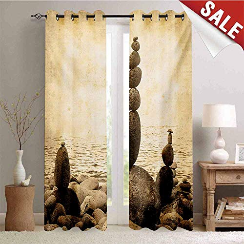 Hengshu Ocean Drapes for Living Room Coastal Shore Calm Water Zen Print Sepia Big and Small Rocks Pebbles Grunge Artsy Window Curtain Fabric W72 x L96 Inch Beige Brown