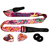 Pink Guitar Strap For Kids & Girls Bundle Includes 2 Strap Locks & 2 Matching Picks- Adjustable Polyester For Electric & Acoustic First Act Discovery & Guitar Lovers.