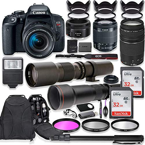 Canon EOS Rebel T7i DSLR Camera with 18-55mm Lens Bundle + Canon EF 75-300mm III Lens, Canon 50mm f/1.8, 500mm Lens & 650-1300mm Lens + Canon Backpack + 64GB Memory + Monopod + Professional Bundle