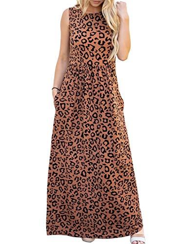 (ZESICA Women's Floral Print Long Sleeve Pockets Empire Waist Pleated Long Maxi Dress Brown)