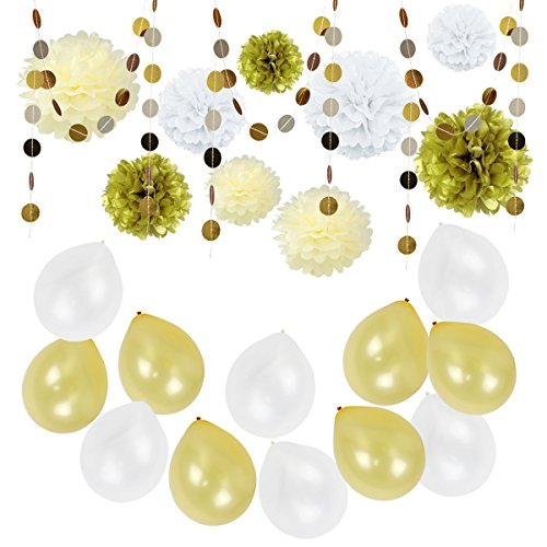 tissue-paper-pom-poms-flowers-gold-silver-paper-circle-dot-garlands-latex-balloons-for-wedding-birth
