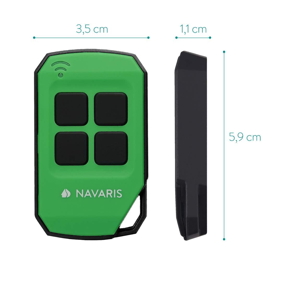 Transmisor en azul Duplicador de c/ódigos universal Mando a distancia inal/ámbrico para puerta de garaje Navaris control remoto de 433 MHz