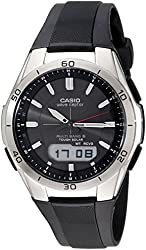 Casio Men's WVA-M640-1ACR Wave Ceptor Stainless Steel Analog-Digital Watch with Black Resin Band