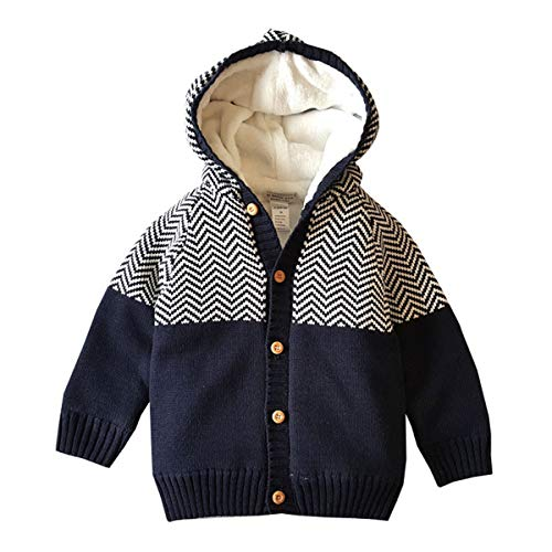 - Dealone Baby Boys Hooded Cardigan Jacket Long Sleeve Striped Knitted Sweater Toddler Winter Warm Outerwear Navy Blue