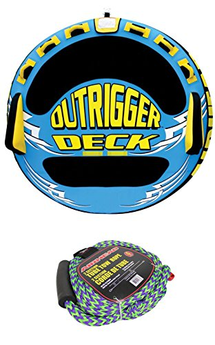 Airhead Outrigger Inflatable Triple Rider Towable Tube w/ 50-60' Boat Tow Rope