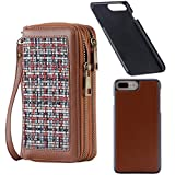 HAWEE Women's Wallet with Wrist Strap Magnetic Phone Case for iPhone 6 Plus /7 Plus /8 Plus 5.5 Inch, Woven Linen Brown