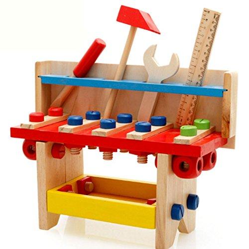 BigNoseDeer Set di attrezzi in legno Set Workbench Childrens prendere lungo Strumenti di falegnameria di carpenteria coltivano l'istruzione intellettuale