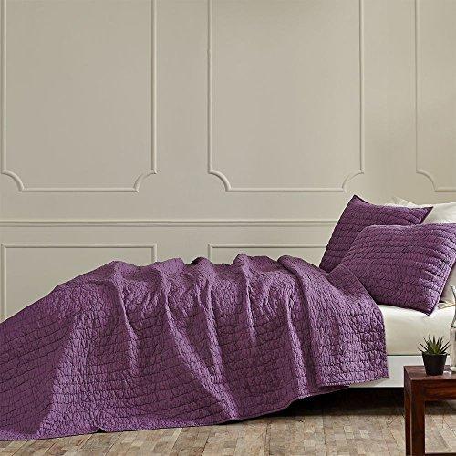 Rochelle Purple Solid Modern 3 Pc King Quilt Set
